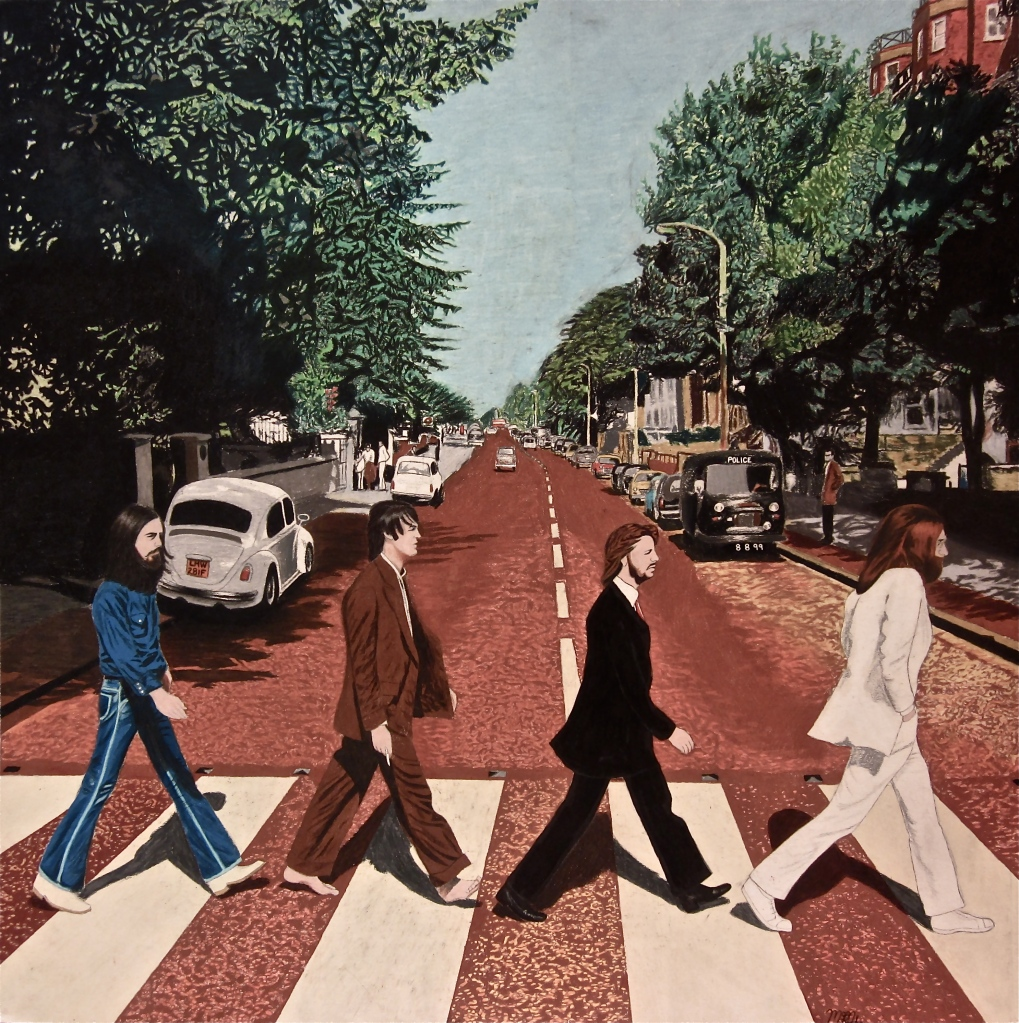 A 30 by 30 colored pencil drawing of Abbey Road