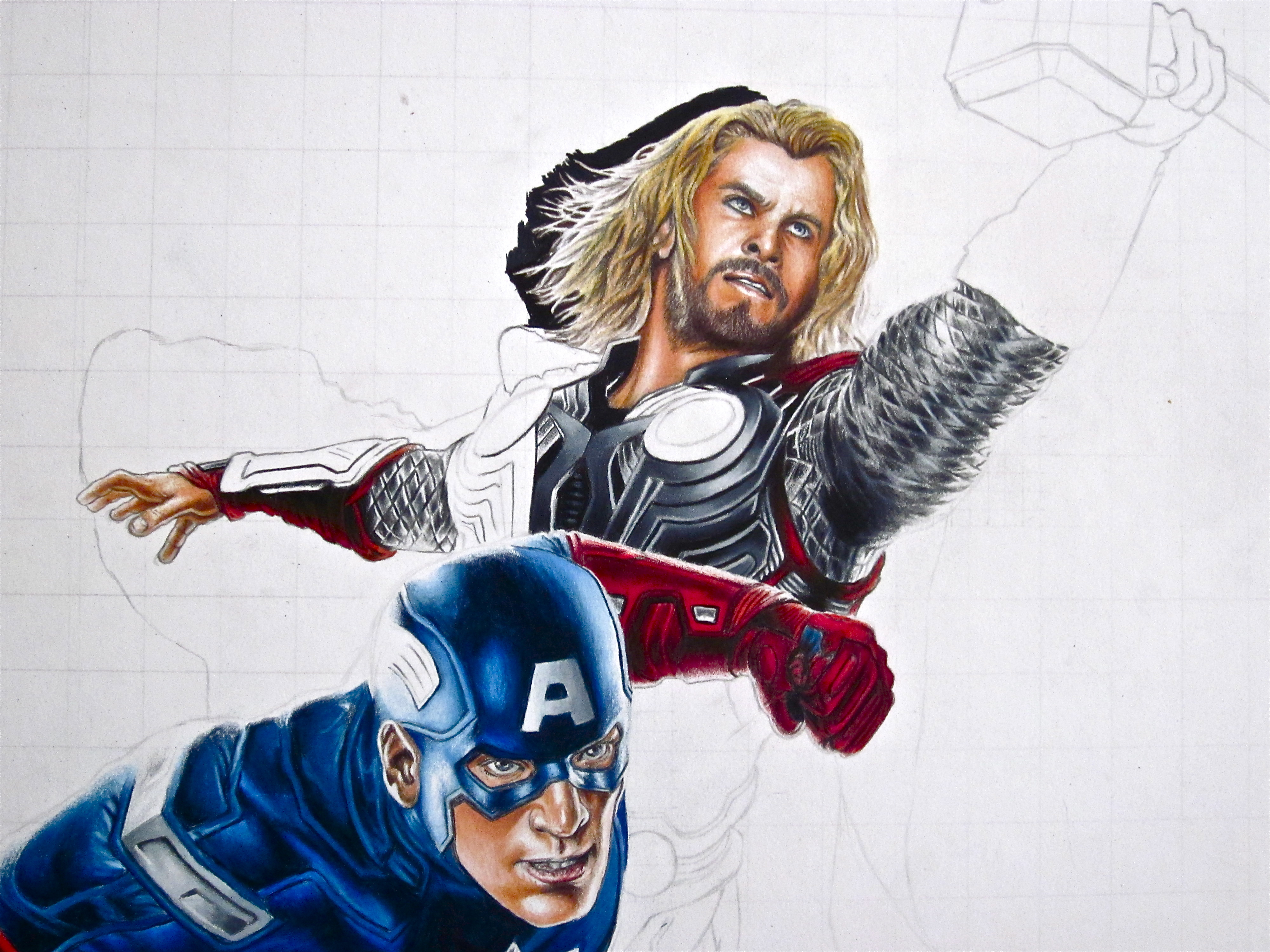 Avengers Pencil Drawing Drawing The Details on Thor's